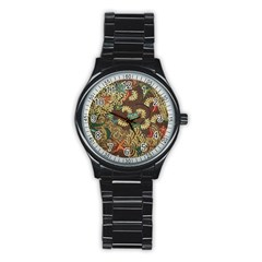 Colorful The Beautiful Of Art Indonesian Batik Pattern Stainless Steel Round Watch