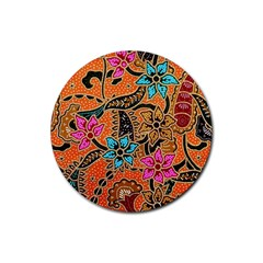 Colorful The Beautiful Of Art Indonesian Batik Pattern(1) Rubber Coaster (round)  by BangZart