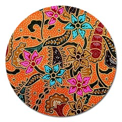 Colorful The Beautiful Of Art Indonesian Batik Pattern(1) Magnet 5  (round)