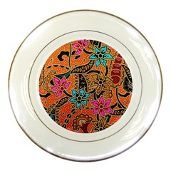 Colorful The Beautiful Of Art Indonesian Batik Pattern(1) Porcelain Plates by BangZart