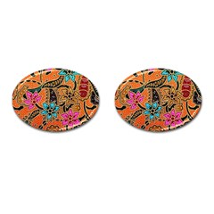Colorful The Beautiful Of Art Indonesian Batik Pattern(1) Cufflinks (oval)