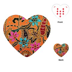 Colorful The Beautiful Of Art Indonesian Batik Pattern(1) Playing Cards (heart)  by BangZart