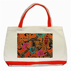 Colorful The Beautiful Of Art Indonesian Batik Pattern(1) Classic Tote Bag (red) by BangZart