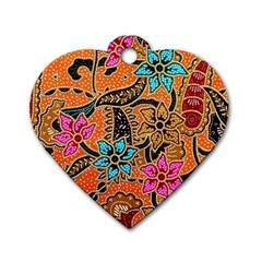 Colorful The Beautiful Of Art Indonesian Batik Pattern(1) Dog Tag Heart (two Sides)