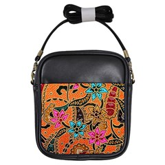 Colorful The Beautiful Of Art Indonesian Batik Pattern(1) Girls Sling Bags by BangZart