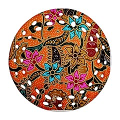 Colorful The Beautiful Of Art Indonesian Batik Pattern(1) Round Filigree Ornament (two Sides) by BangZart