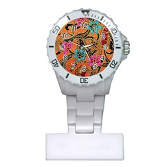 Colorful The Beautiful Of Art Indonesian Batik Pattern(1) Plastic Nurses Watch by BangZart