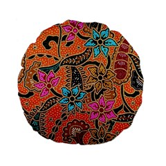 Colorful The Beautiful Of Art Indonesian Batik Pattern(1) Standard 15  Premium Flano Round Cushions