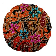 Colorful The Beautiful Of Art Indonesian Batik Pattern(1) Large 18  Premium Flano Round Cushions by BangZart
