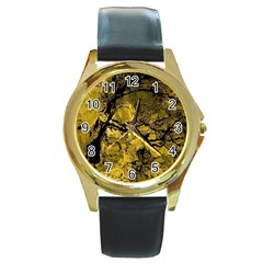 Colorful The Beautiful Of Traditional Art Indonesian Batik Pattern Round Gold Metal Watch