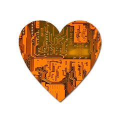 Circuit Board Pattern Heart Magnet by BangZart
