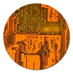 Circuit Board Pattern Magnet 5  (round) by BangZart