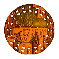 Circuit Board Pattern Round Filigree Ornament (two Sides) by BangZart