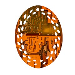 Circuit Board Pattern Oval Filigree Ornament (two Sides) by BangZart