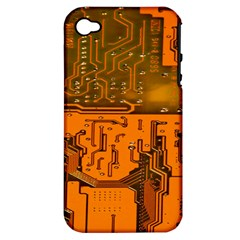 Circuit Board Pattern Apple Iphone 4/4s Hardshell Case (pc+silicone)