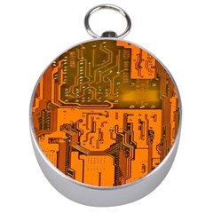 Circuit Board Pattern Silver Compasses