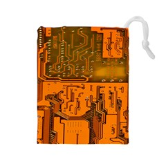 Circuit Board Pattern Drawstring Pouches (large)  by BangZart