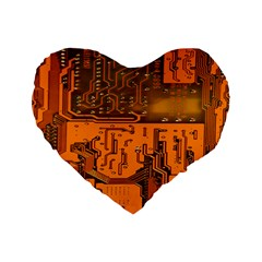 Circuit Board Pattern Standard 16  Premium Flano Heart Shape Cushions by BangZart