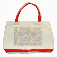 Cat Animal Pet Pattern Classic Tote Bag (red) by BangZart