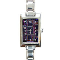 Cad Technology Circuit Board Layout Pattern Rectangle Italian Charm Watch by BangZart