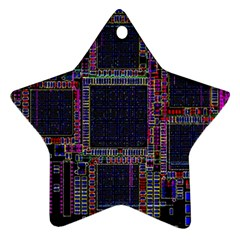 Cad Technology Circuit Board Layout Pattern Ornament (star) by BangZart