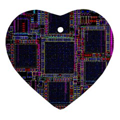 Cad Technology Circuit Board Layout Pattern Heart Ornament (two Sides) by BangZart