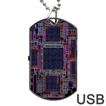 Cad Technology Circuit Board Layout Pattern Dog Tag USB Flash (Two Sides) Front