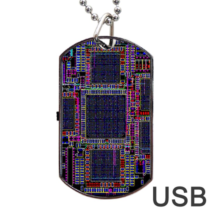 Cad Technology Circuit Board Layout Pattern Dog Tag USB Flash (Two Sides)