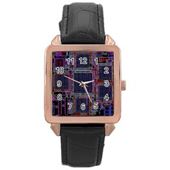Cad Technology Circuit Board Layout Pattern Rose Gold Leather Watch