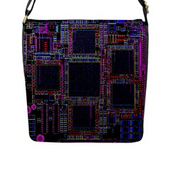 Cad Technology Circuit Board Layout Pattern Flap Messenger Bag (l)