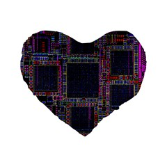 Cad Technology Circuit Board Layout Pattern Standard 16  Premium Flano Heart Shape Cushions by BangZart