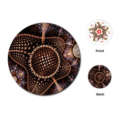 Brown Fractal Balls And Circles Playing Cards (round)  by BangZart
