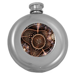 Brown Fractal Balls And Circles Round Hip Flask (5 Oz) by BangZart