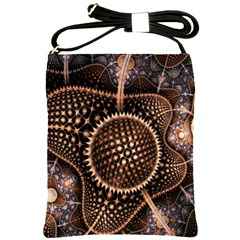 Brown Fractal Balls And Circles Shoulder Sling Bags