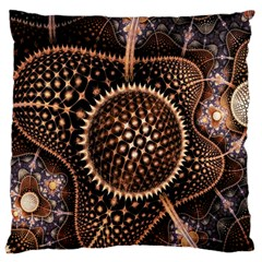 Brown Fractal Balls And Circles Large Cushion Case (two Sides) by BangZart