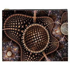 Brown Fractal Balls And Circles Cosmetic Bag (xxxl)  by BangZart