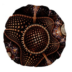 Brown Fractal Balls And Circles Large 18  Premium Round Cushions