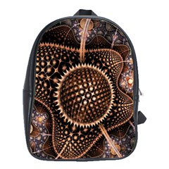 Brown Fractal Balls And Circles School Bags (xl)