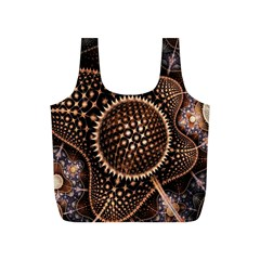Brown Fractal Balls And Circles Full Print Recycle Bags (s)  by BangZart