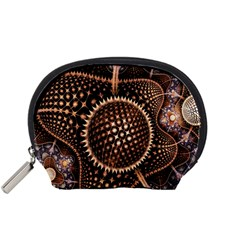 Brown Fractal Balls And Circles Accessory Pouches (small)  by BangZart