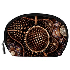 Brown Fractal Balls And Circles Accessory Pouches (large)  by BangZart