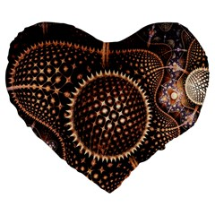 Brown Fractal Balls And Circles Large 19  Premium Flano Heart Shape Cushions