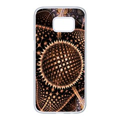 Brown Fractal Balls And Circles Samsung Galaxy S7 Edge White Seamless Case by BangZart