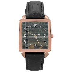 Building Pattern Rose Gold Leather Watch