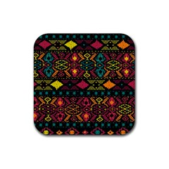Bohemian Patterns Tribal Rubber Coaster (square)  by BangZart