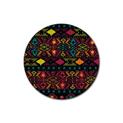 Bohemian Patterns Tribal Rubber Coaster (round)