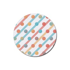 Simple Saturated Pattern Rubber Round Coaster (4 Pack)  by linceazul