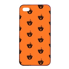 Funny Halloween   Burned Skull Pattern Apple Iphone 4/4s Seamless Case (black) by MoreColorsinLife