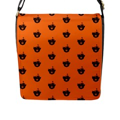 Funny Halloween   Burned Skull Pattern Flap Messenger Bag (l)  by MoreColorsinLife