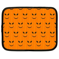 Funny Halloween   Face Pattern Netbook Case (large) by MoreColorsinLife